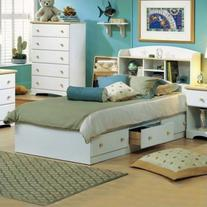 South Shore Newbury Kids Twin Bookcase Storage Bed Set in
