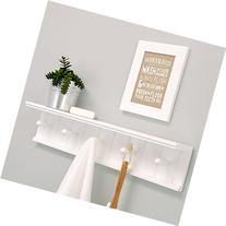 Kiera Grace Kian Wall Shelf with 5 Pegs, 24-Inch by 5-Inch,