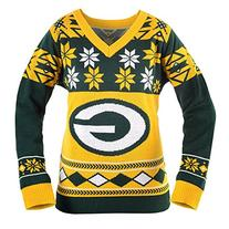NFL Women's V-Neck Sweater, Green Bay Packers, X-Large
