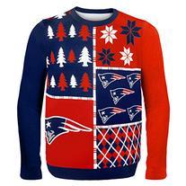 NFL New England Patriots Busy Block Ugly Sweater, Medium,