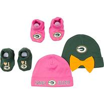 NFL Green Bay Packers 2 Baby Caps and 2 Booties Set, 0-6