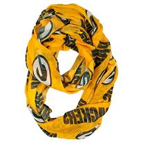 NFL Green Bay Packers Sheer Infinity Scarf, One Size, Yellow