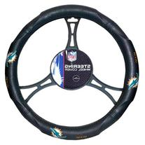 NFL Miami Dolphins Steering Wheel Cover, Black, One Size
