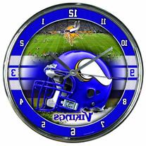 Nfl Football Team Chrome Wall Clock , Minnesota Vikings , 12