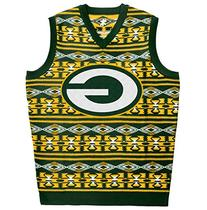 KLEW NFL Green Packers Ugly Sweater Vest, Large, Green