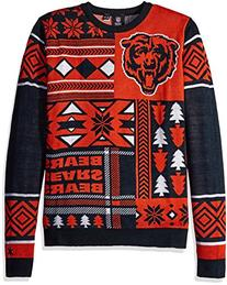 NFL Chicago Bears Patches Ugly Sweater, Blue, Medium