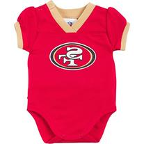 NFL San Francisco 49ers Girls Dazzle Mesh V-Neck Bodysuit,