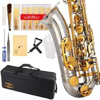 Glory Nickel /Gold B Flat Tenor Saxophone with Case,10pc
