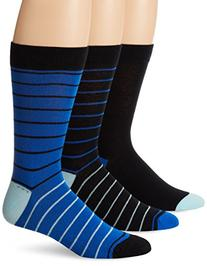 Ben Sherman Men's 3 Pack Nigel Crew Socks, Black/Royal, One