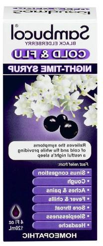 Sambucol Night Time Cold and Flu Syrup, Elderberry, 4 Ounce