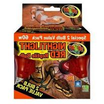 Zoo Med Nightlight Reptile Bulb, 60-watt, Red, 2-Pack