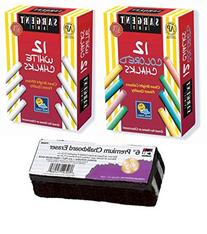 Kedudes Non-Toxic White Dustless Chalk  and Colored Dustless