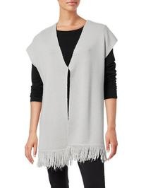 T Tahari Nora Fringed Sweater-GREY-Small