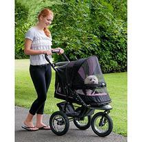 Pet Gear No-Zip NV Pet Stroller, with Zipperless Entry, Rose