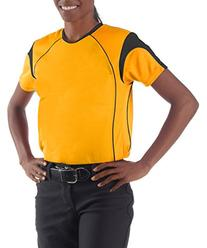 A4 NW3260 Ladies Color Block Pullover Top - Gold & Black,