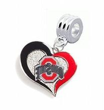 Ohio State Buckeyes Swirl Heart Charm with Connector -