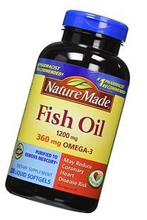 Nature Made  360mg of Omega 3 200 Softgels Fatty Acids Fish
