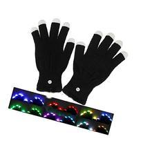One Pair LED Rave Flashing Gloves Glow 7 Mode Light Up