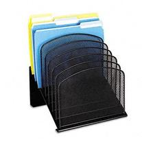 Safco- Onyxtm Mesh Desk Organizer With Tiered Sections ,Vrt