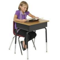 ECR4Kids Open Front Desk with Metal Book Box, Oak, 2-Pack