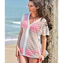 MG Collection® Openwork White Cotton Lace V-Neck Beach