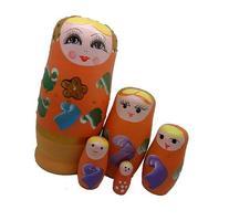 Orange Set of 5 Cutie Nesting Dolls Matryoshka Madness