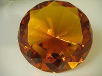 Orange Glass Diamond Shaped Paperweight 4 Inches