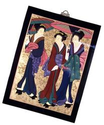 Asian Oriental Lacquered Painting Wall Art Plaque