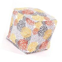 Ottoman, Contemporary Citrus Blooms Cube Outdoor/ Indoor .