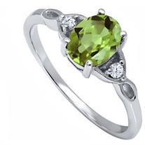 1.41 Ct Oval Green Peridot White Topaz 925 Sterling Silver