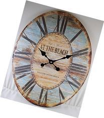 Oval Wall Clock ~ LIFE IS GOOD WELCOME TO THE BEACH