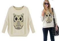 Women's Owl Batwing-Sleeve Loose Pullover Sweater