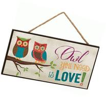 Owl You Need Is Love! Two Owls on Branch Decorative Hanging