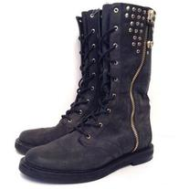 Pre-Owned Pierre Balmain Calf-High Suede Eden Boots Size 8