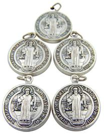 Lot of 5 Silver Toned Base Tone Saint Benedict Protection