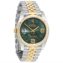 Rolex Oyster Perpetual Datejust 36 Green Floral Dial Steel