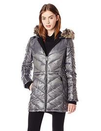 BCBGeneration Women's Packable Down Jacket with Hood, Pewter