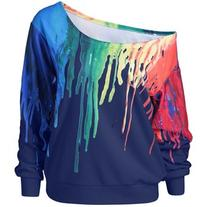 Paint Drip Skew Collar Sweatshirt