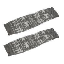uxcell Pair Dark Gray Nordic Pattern Stretchy Toeless Knee