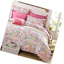Cliab Paisley Bedding Pink Twin Girls Duvet Cover Set 100%