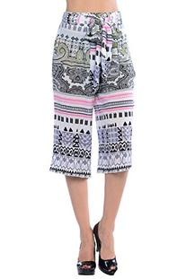 CARAPACE Womens Women's Paisley Printed Culotte PINK/BLACK S