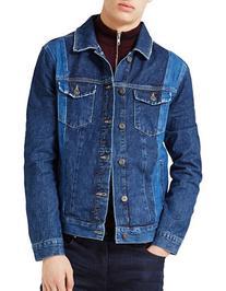 Topman Panelled Denim Jacket-BLUE-Large