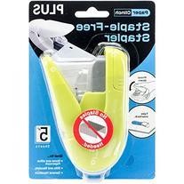 Plus Paper Clinch Staple-Less Stapler, Green