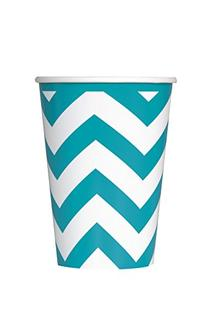 Chevron Paper Cups, 12 Ounce, Teal, 6 Count