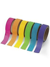 Fun Express BB13650926 Paper Neon Washi Tape Set, 6 Rolls