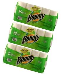 Bounty Paper Towels, White, 15-Count Package 3 Packs