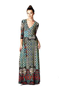 On Trend Paris Dress Bohemian 3/4 Sleeve Long Maxi Dress