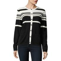 Karl Lagerfeld Paris Metallic-Striped Cardigan