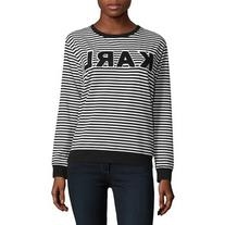 Karl Lagerfeld Paris Striped Logo Printed Sweatshirt