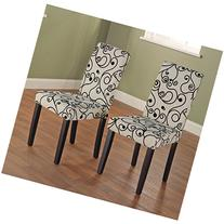 Metro Shop Parson Cream and Black Rubber Wood Dining Chairs
